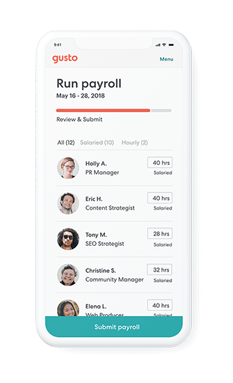 Running payroll on mobile device