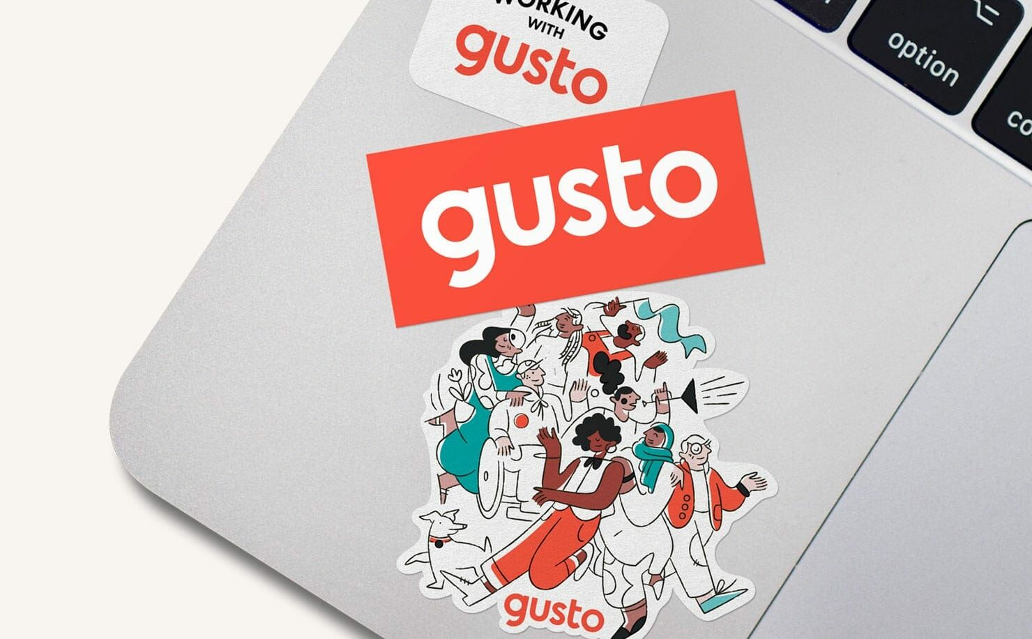 laptop with Gusto stickers