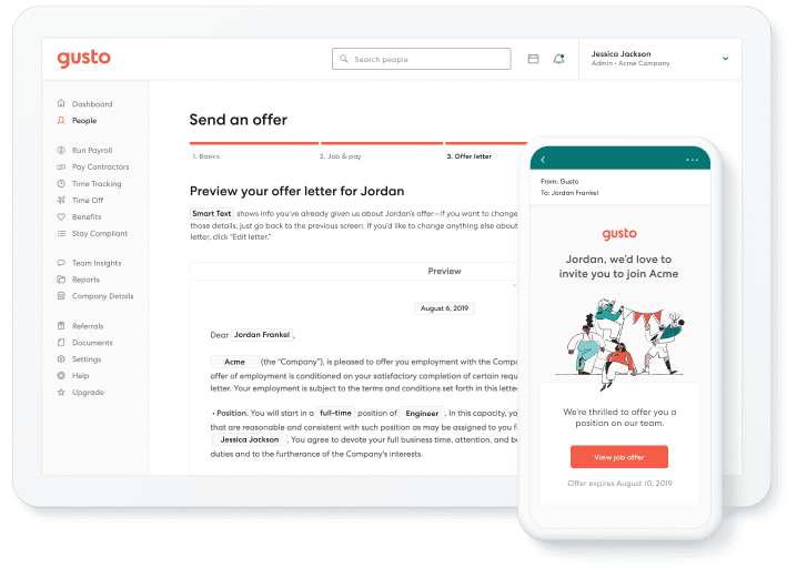 sending an offer letter from Gusto dashboard