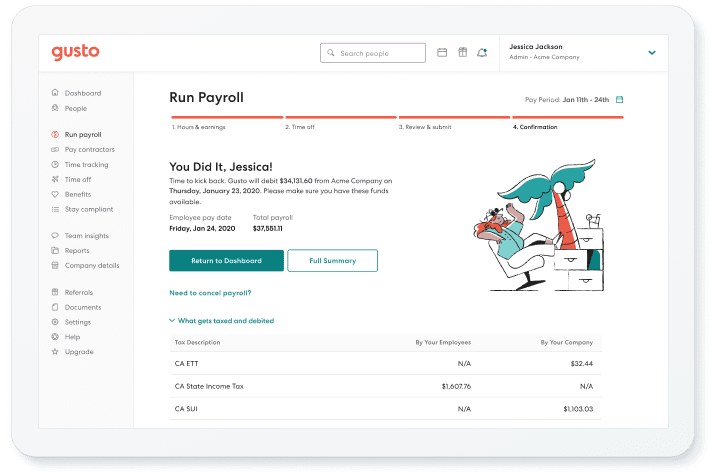 running payroll on Gusto dashboard