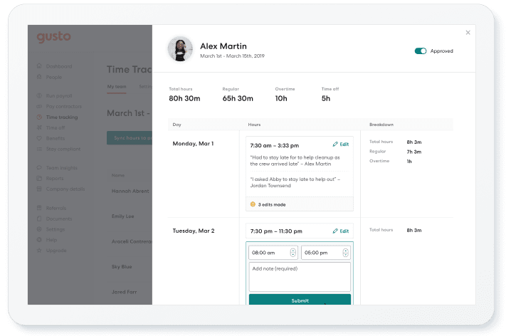 time tracking on Gusto dashboard