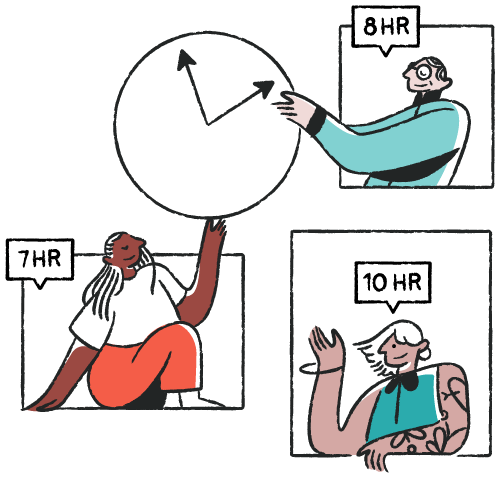 people with clock illustration