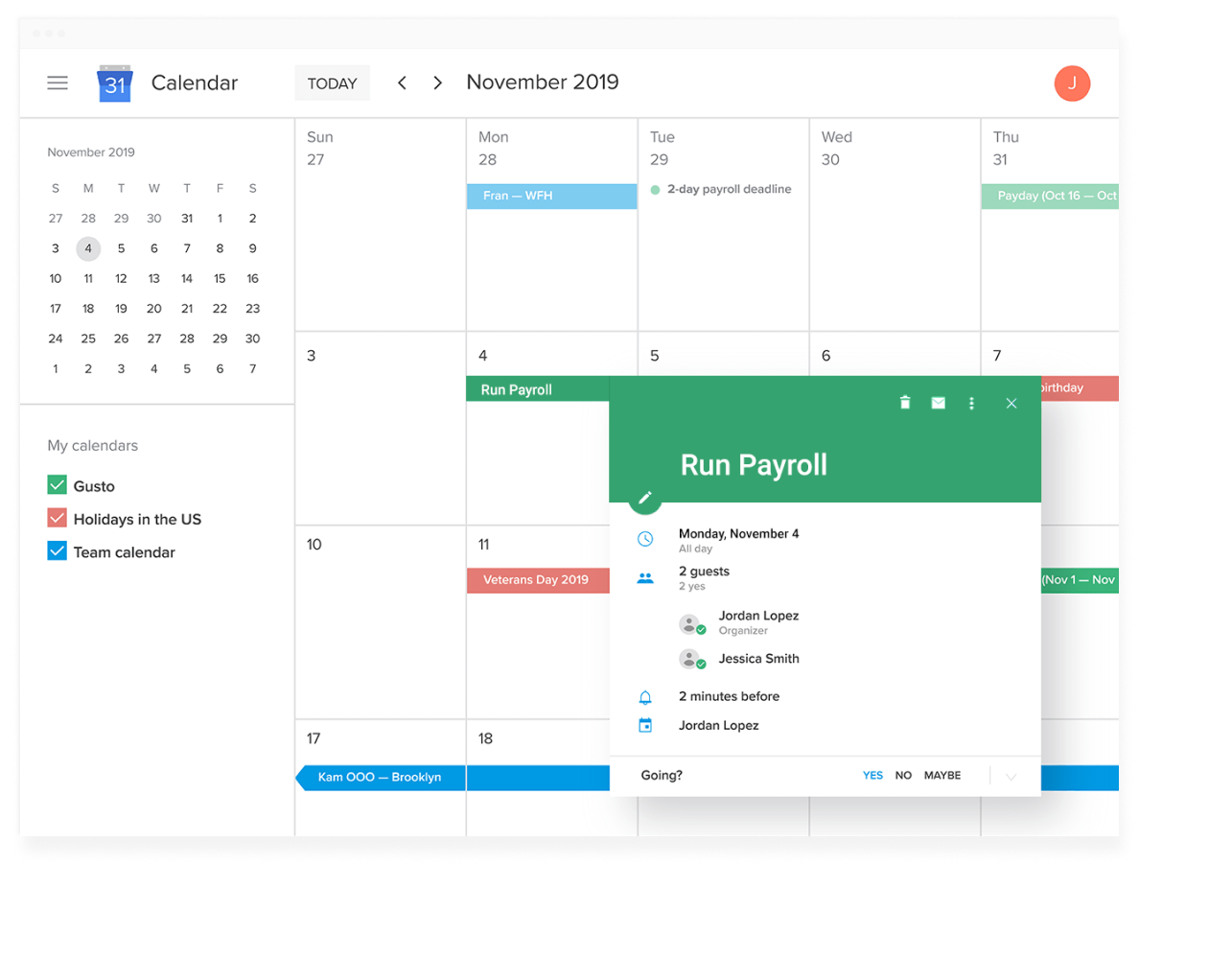 Google calendar syncs with Gusto