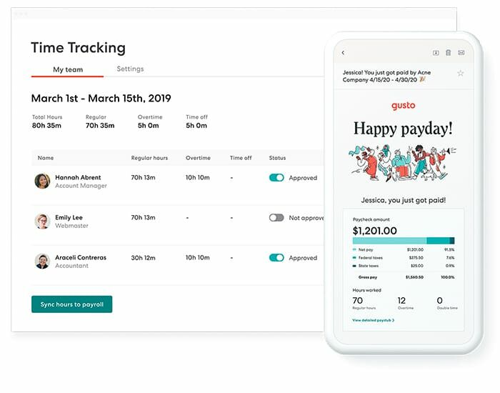 Gusto payroll syncs with time tracking