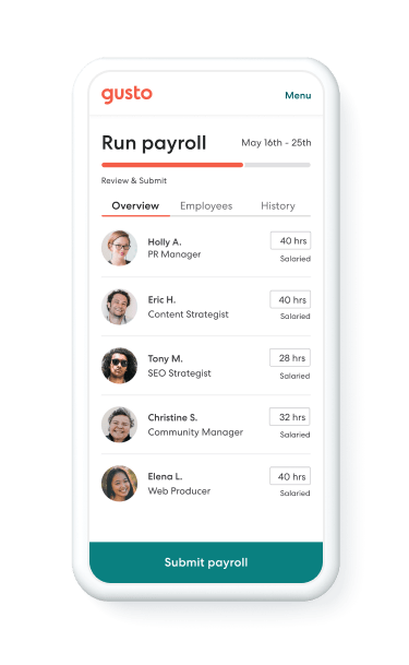 Gusto payroll dashboard and email